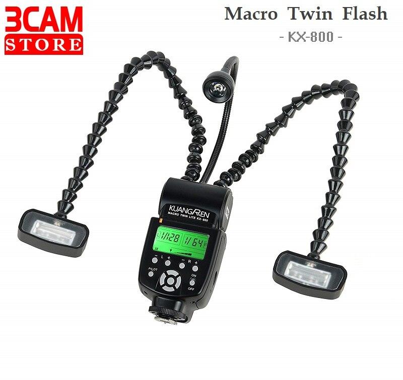 Macro duplo flash KX-800 kuangren retrátil profissional anel macro flash luz para canon nikon pentax sony olympus dslr