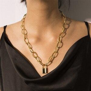 Готический панк замок колье ожерелье эффектное Бохо звено массивная цепочка висячий замок ожерелье для женщин/мужчин ювелирные изделия ст...