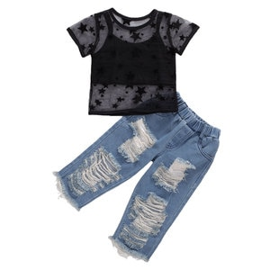Pudcoco 2020 Summer Baby Girls Clothes Tshirts Vest Tank Top Ripped Denim Pants Toddler Kids Clothing 3pcs Outfits Clothes Set