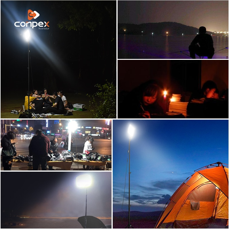 Portable LED camping lights outdoor flashing lighting bulb 12V rechargeable rotate LED light for Road travel flashlight Lantern enlarge