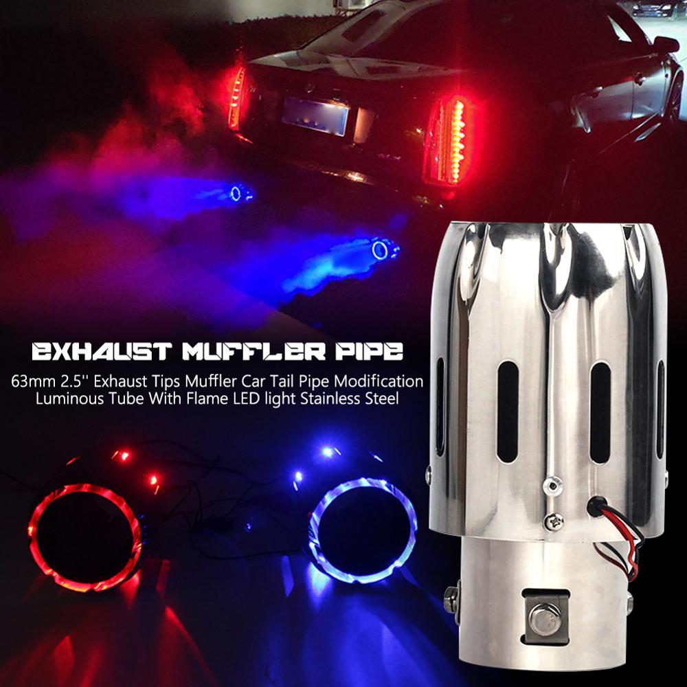 63mm 2.5 tips tips dicas de escape silenciador carro tubo de cauda modificação luminosa com chama led luz aço inoxidável
