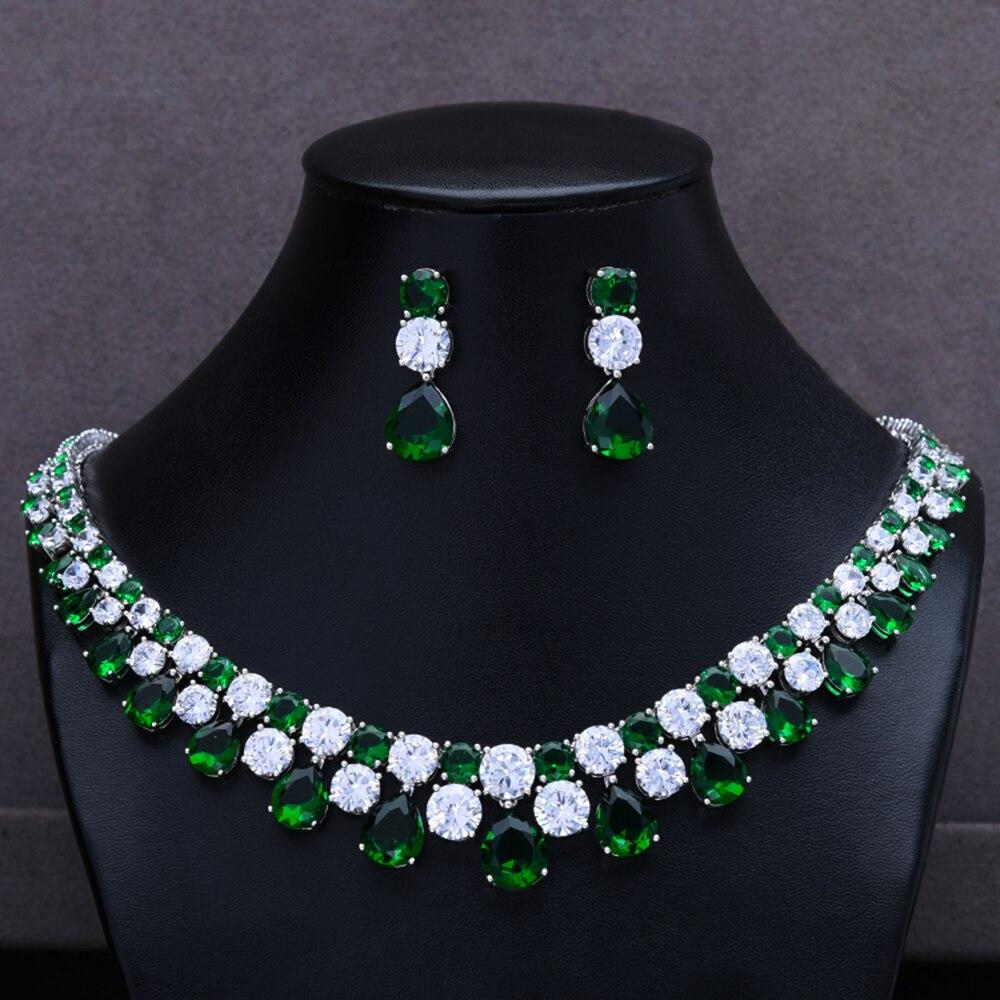 GODKI precioso collar verde CZ bisutería pendientes mujer boda delicado lujo brillante joyería conjunto rama para fiesta boda