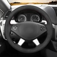 diy anti slip wear resistant steering wheel cover for mercedes benz vito viano w639 2010 2014 car interior decoration