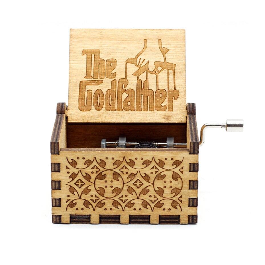 Caixa de música de manivela de madeira quente padrinho estrela jogo de guerra dos tronos beleza e a besta natal dia dos namorados presente caixão