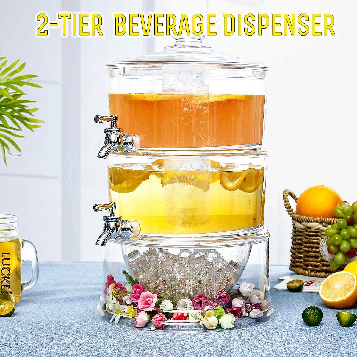 Дозатор для питьевого сока с отдельным резервуаром для воды 2 слоя 2 краны диспенсер для напитков для холодного сока держатель охладителя ...