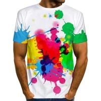 mens color paint t shirt 3d printing rainbow tie dye pattern t shirt graphics