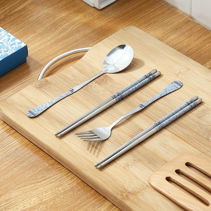 Juego de vajilla de acero inoxidable, cuchara portátil, cubiertos de viaje, tenedor, restaurante, JJ60DC
