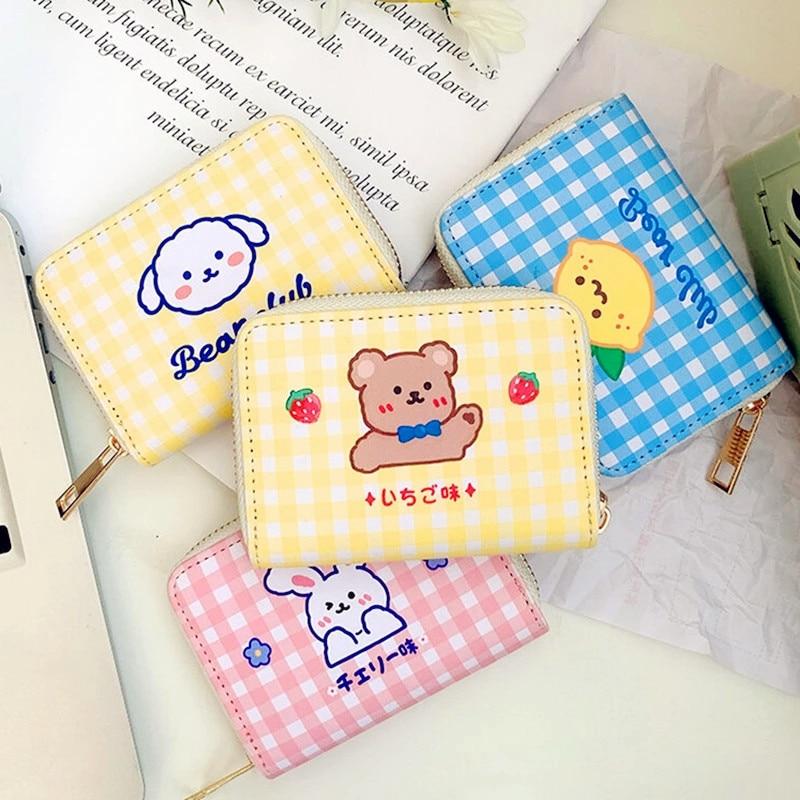 Bentoy Short Cute Wallet Korean Cartoon Cute Bear Small Mini Coin Wallet Purse Clutch Card Cash Orga