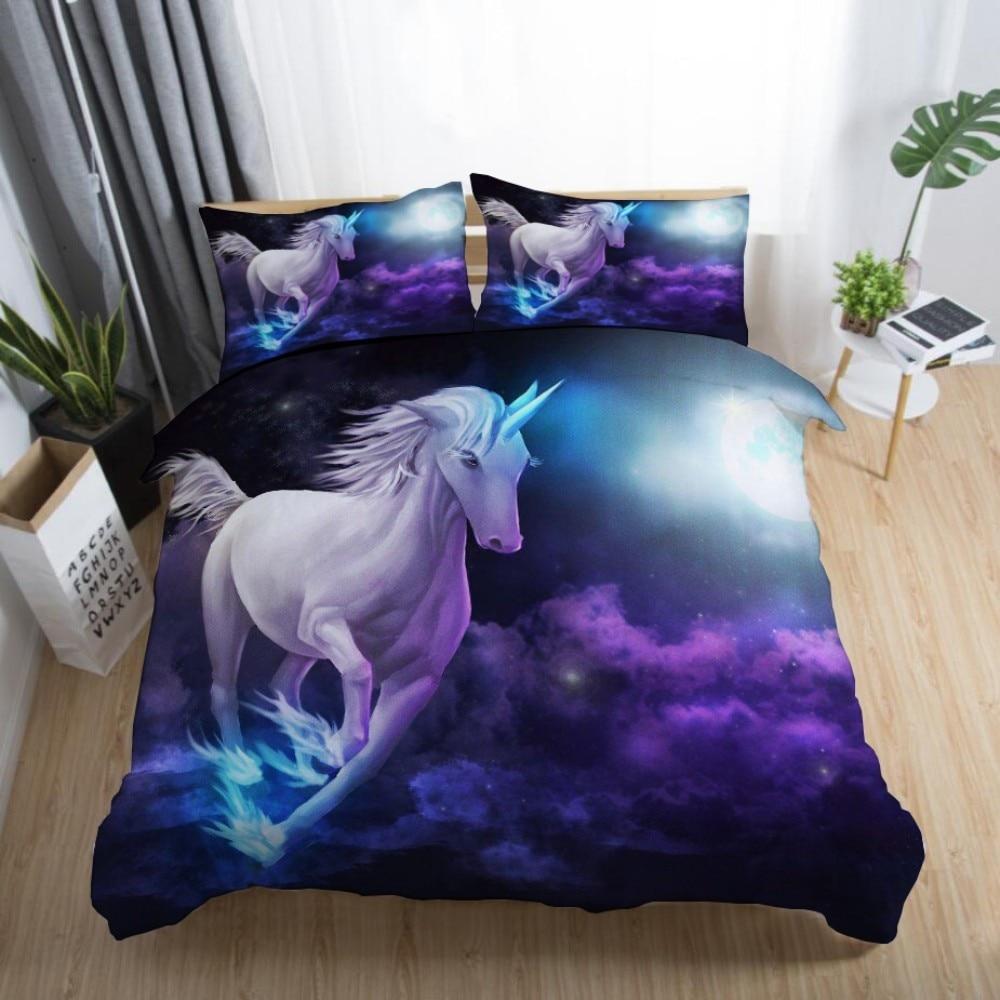 Juego de cama de dibujos animados de Disney en 3D unicornio mágico mundo bebé niños niñas dormitorio decoración edredón fundas de almohada