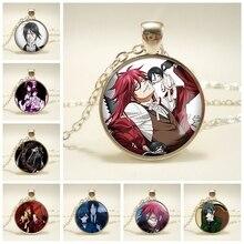 Mode noir majordome métal kuroshisuji Ciel fantôme Grell verre dôme emblème Anime Manga collier pendentif bijoux cadeau