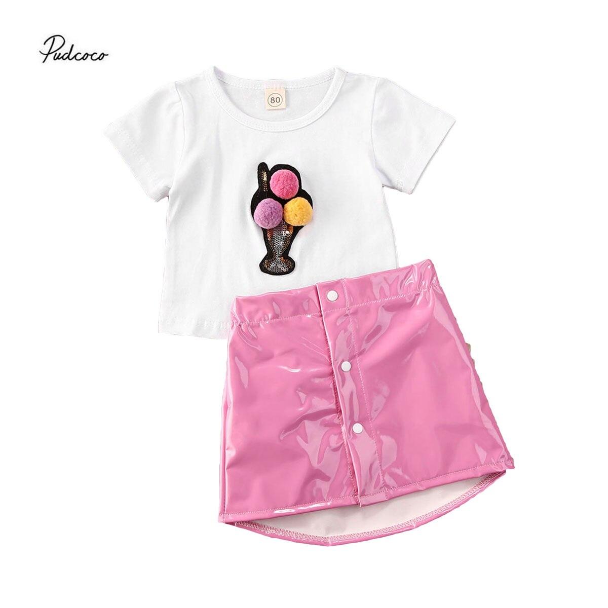 Ropa Para Niña de 1-5y bebé encantador, camisetas de manga corta con helado de impresión 3D + faldas de cuero PU rosa, conjunto de trajes de 2 uds., 2020
