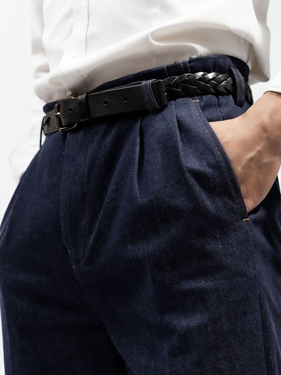 Итальянские ретро джинсы со средней талией и высокой талией, мужские хлопковые голливудские повседневные брюки, мужские джинсы