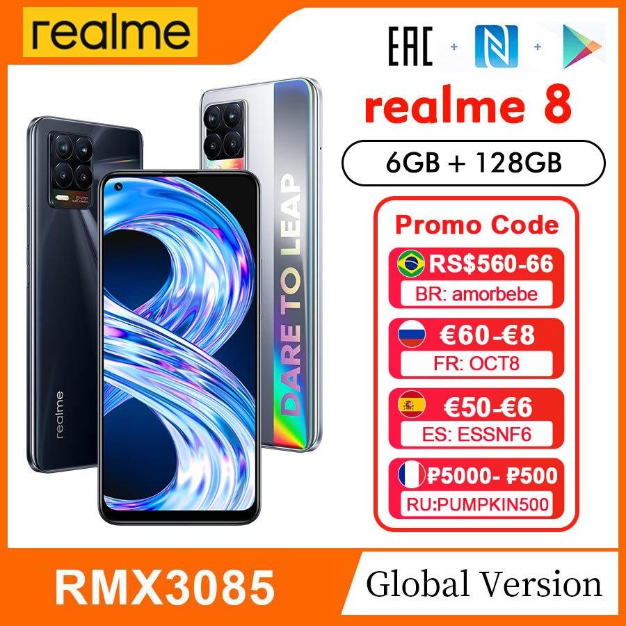 Глобальная версия realme 8, FHD + дисплей 6,4 дюйма, 6 ГБ 128 ГБ, 64-мегапиксельная четырехъядерная камера, Helio G95, аккумулятор 5000 мАч, 30 Вт, зарядка, …