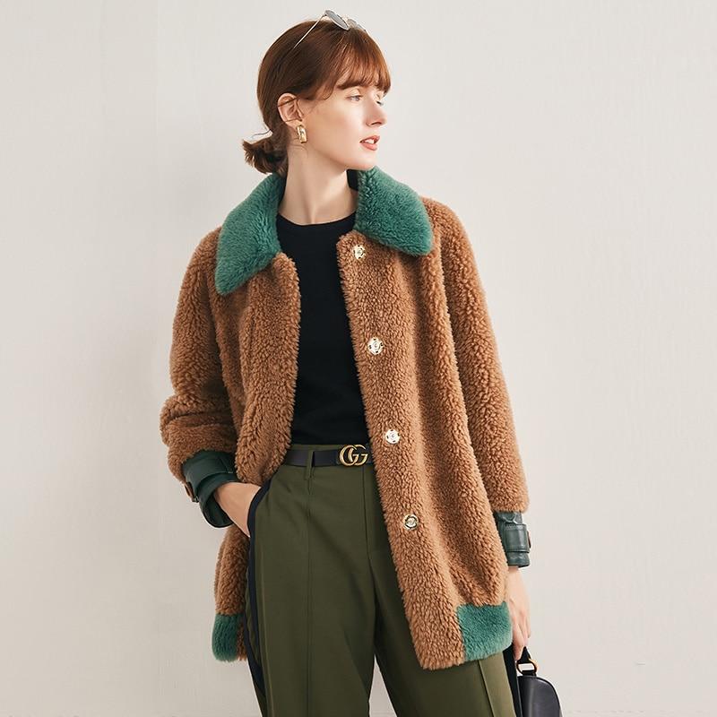 Chaqueta de esquilar de oveja para mujer ropa de otoño invierno 2020 abrigo de piel Real coreano para mujer Vintage 100% chaquetas de lana de piel Hiver superior 19906