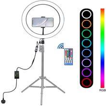 12 pouces rvb anneau lumière LED Bluetooth APP télécommande réglable arc-en-ciel sonnerie avec support de téléphone pour maquillage YouTube vidéo