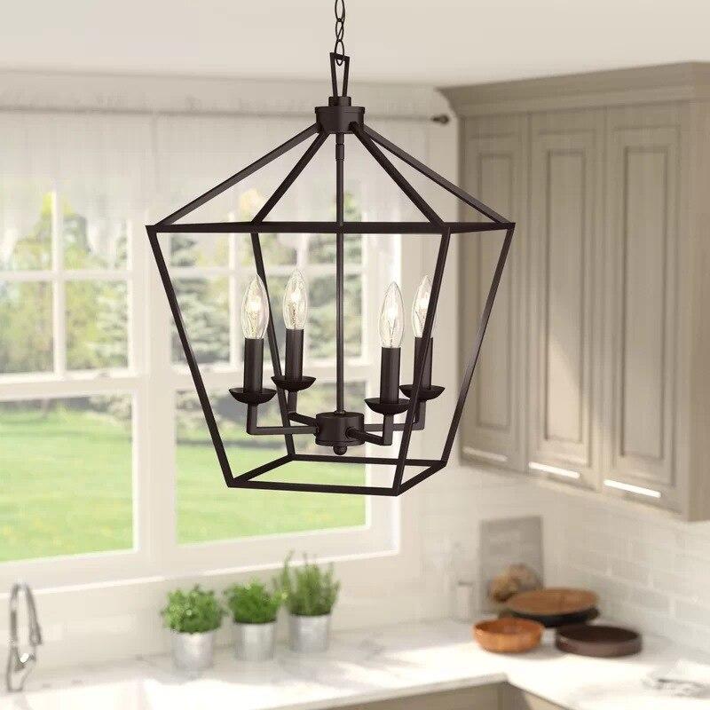 American Retro Iron Industrial Four-Head Chandelier Modern Minimalist Living Room Study Counter Restaurant Hanging Light