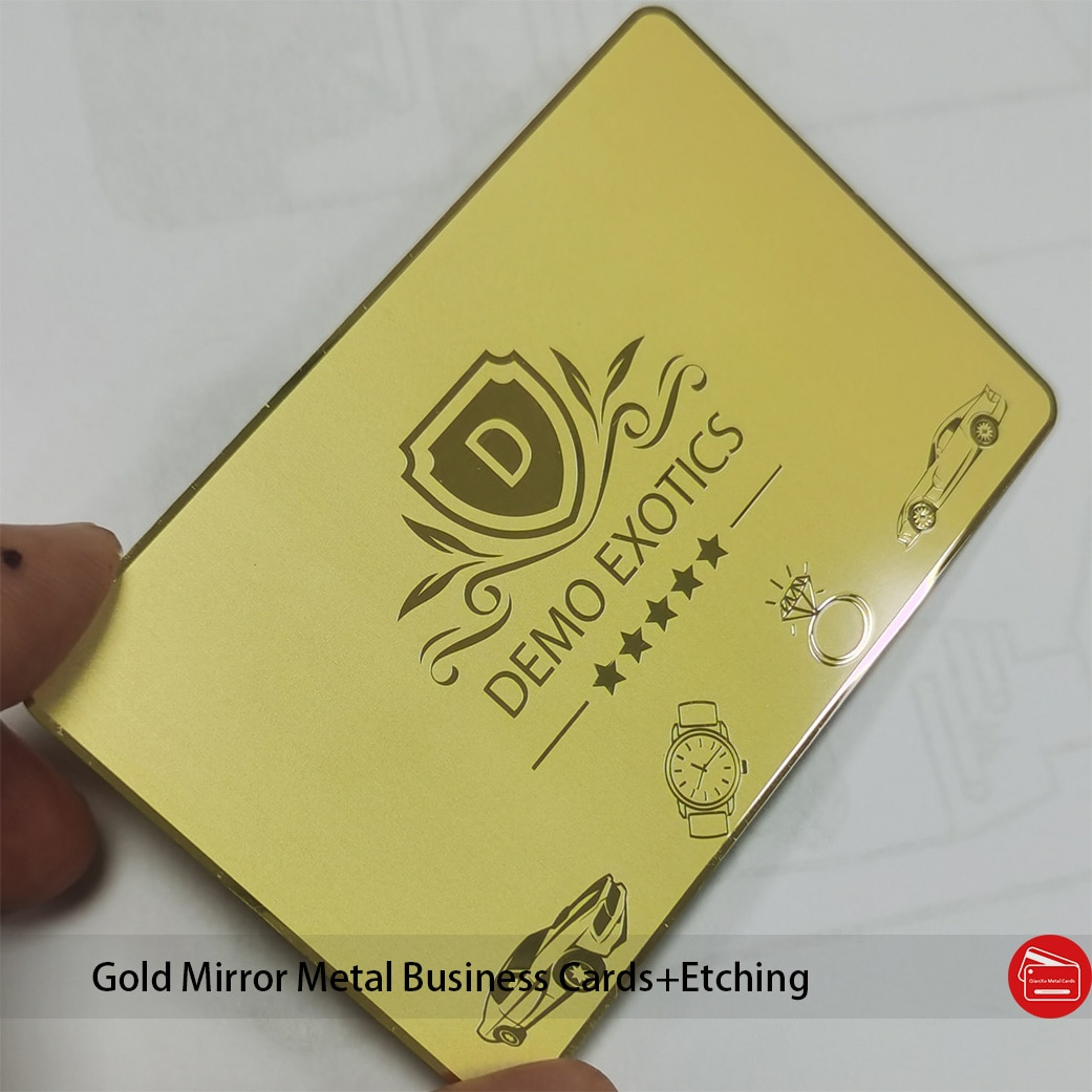 Base plated gold Mirror surface finish stainless steel gold metal/business card