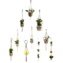 Panier porte-plante en macramé   Cintres de plantes, fait à la main, support de plantes suspendu pour mur intérieur