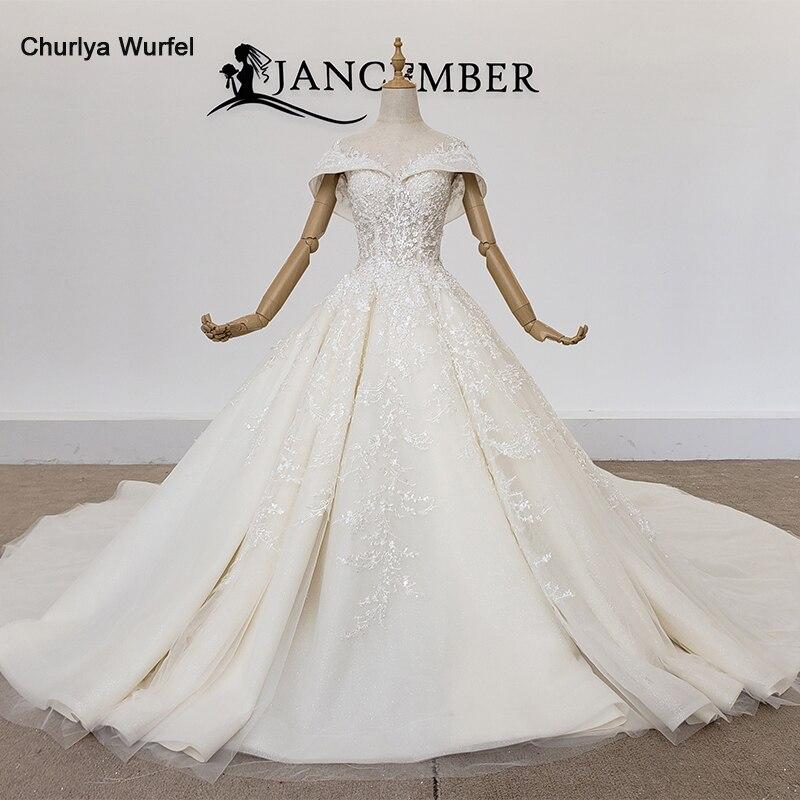 فستان زفاف HTL1349 كامل مع فستان زفاف فاخر مزين بالذهب فستان زفاف بأكمام طويلة من الدانتيل حتى رداء دي ماري