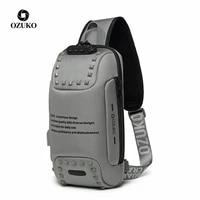 ozuko waterproof multifunction backpack men anti theft fashion male ipad shoulder bag usb charging waterproof sling fit 9 7 ipad