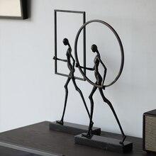 Figura abstracta moderna que camina sobre mármol con marco cuadrado redondeado estatua artística ornamento escultura de Metal decoración de la Oficina del hogar artesanía