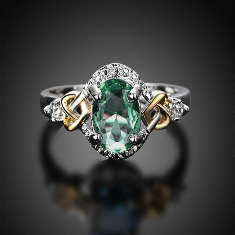 Европейский и американский стиль, женское кольцо с зеленым Цирконом юбилей кольцо ювелирные изделия элегантные женские аксессуары