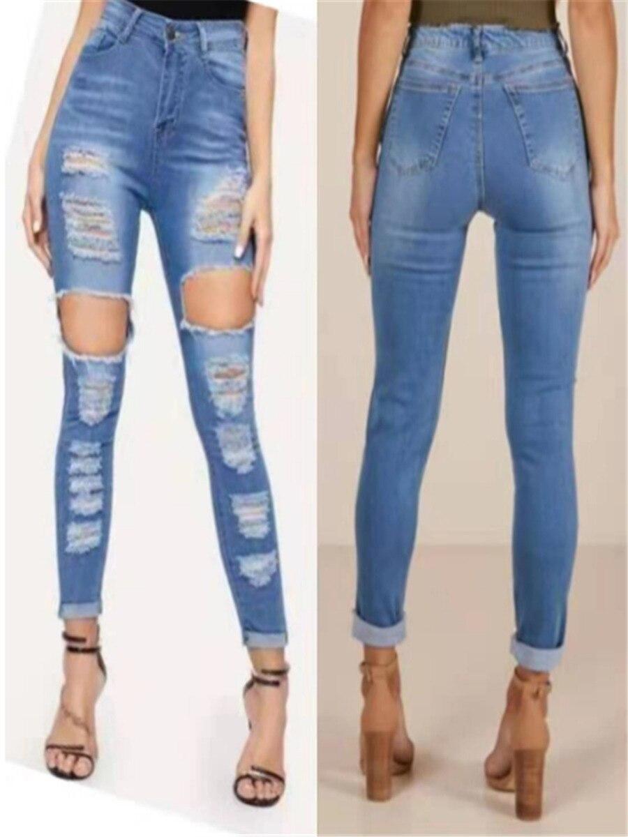 Женские джинсы тонкие брюки с высокой талией, эластичные узкие брюки с дырками, повседневные модные женские джинсы, Лидер продаж