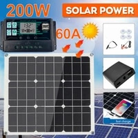 200 watt 200w solar panel kit portable dual usb with lcd solar controller 12v folding outdoor mobile power battery charger