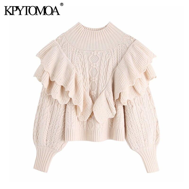 Vintage estilo corto volantes tejido suéter mujer 2020 moda cuello alto linterna manga femenina jerseys Chic tapas