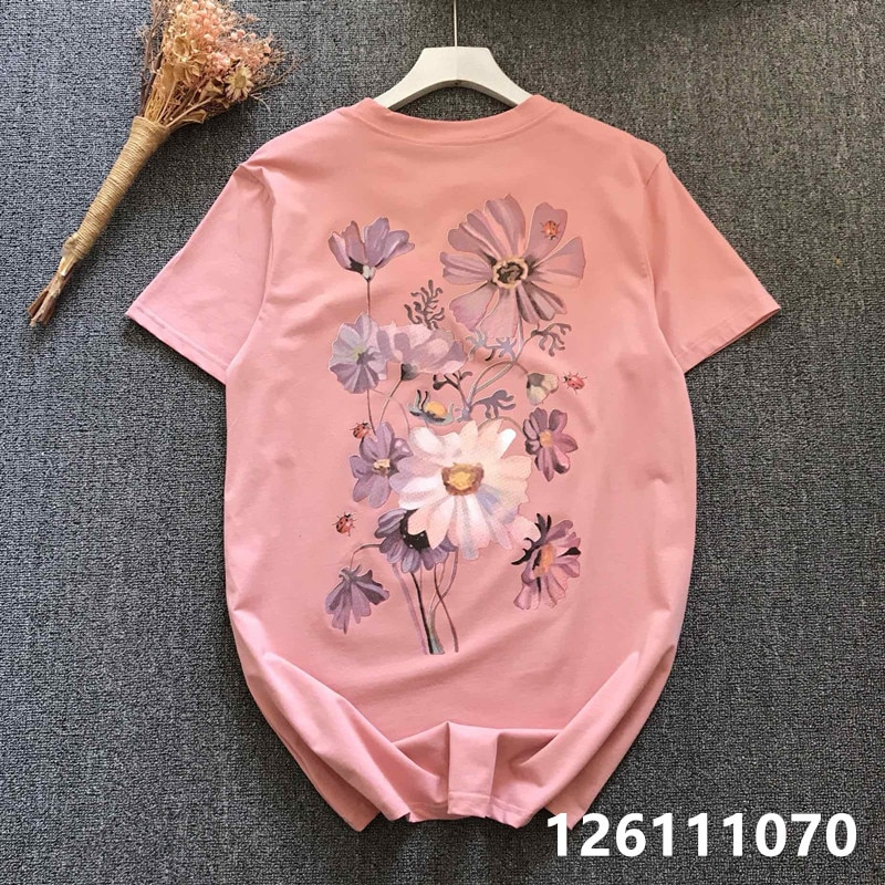 Verano 2020 G hogar lujo señoras melocotón Powder detrás de la flor grande cervatillo manga corta Camiseta cuello redondo Mujer