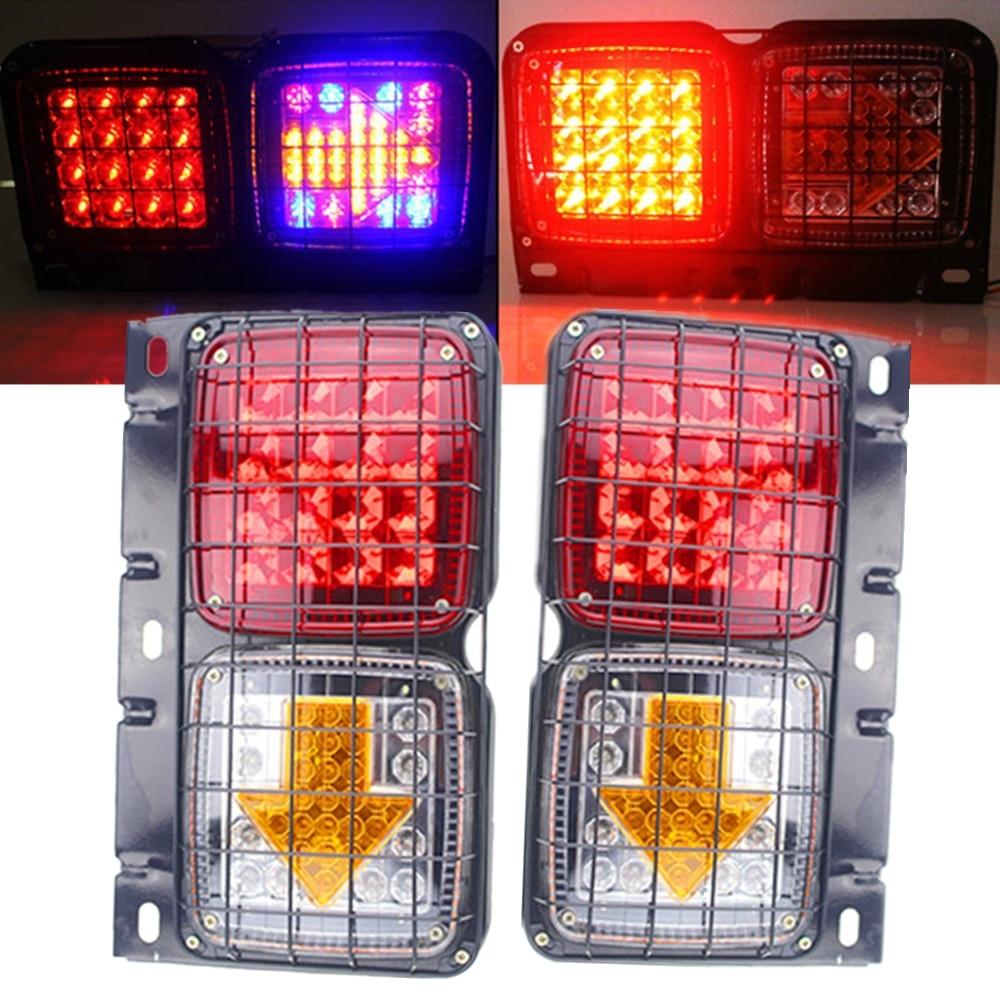 2 pces 12 v carro conduziu a luz traseira do caminhão de reboque da caravana 153 leds luz da cauda do ferro com seta líquida e colorida