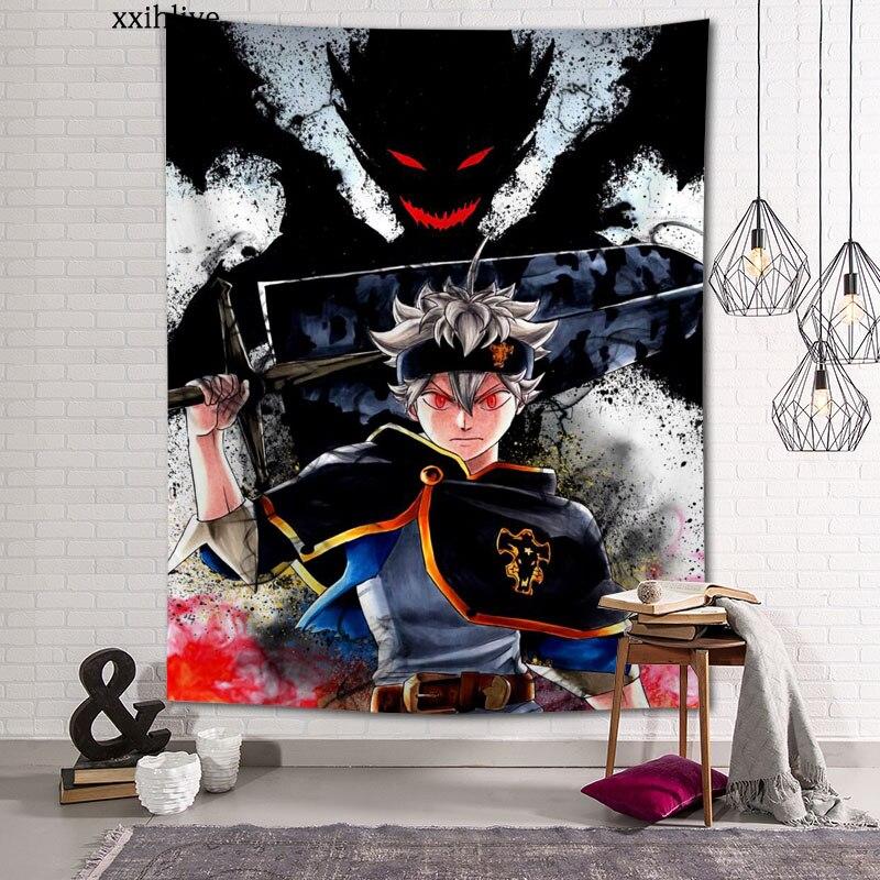 Гобелен в стиле аниме с черным клевером, богемный настенный комнатный ковер на заказ, HD гобелены, художественные аксессуары для украшения д...