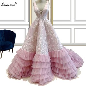 Gorgeous Pink Appliques Evening Dresses 2020 A-Line Backless Fairy Evening Gowns Long Turkish Couture Celebrity Dresses Vestidos