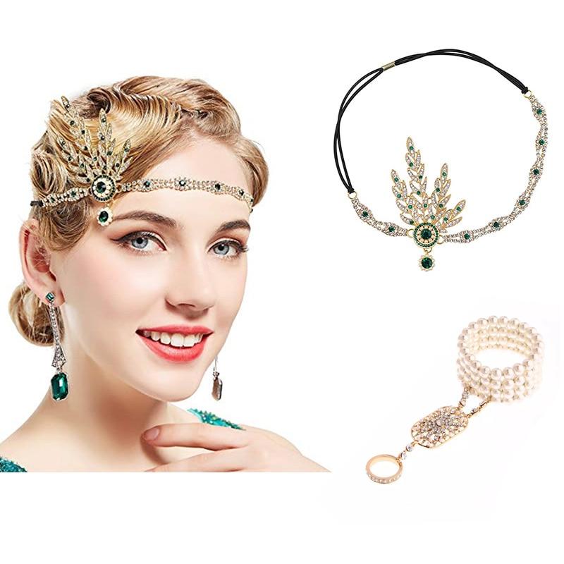 1920flas flapper great gatsby feminino arte deco inspirado folha medalhão pérola headpiece headband festa acessório casamento nupcial tia