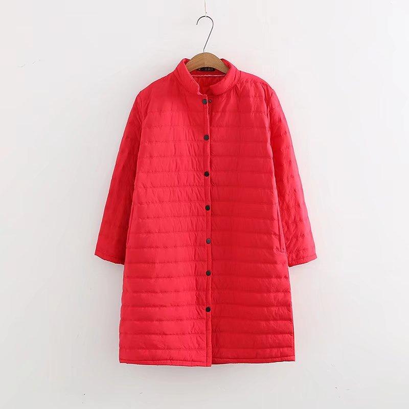 Chaquetas largas acolchadas de algodón para Otoño e Invierno de talla grande de color rojo para mujer