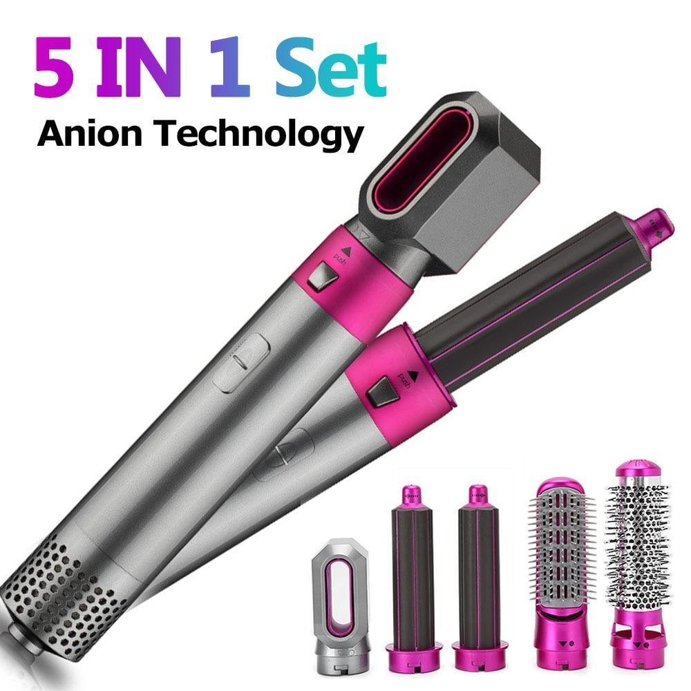5 In 1 Hair Dryer Hot Air Brush Styler Volumizer Hair Straightener Curler Comb Negative Ion One Step Hair Dryer Blower Brush