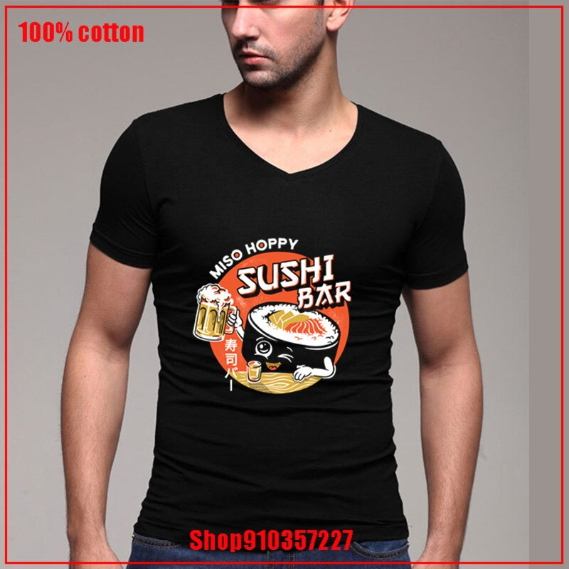 Sushi Bar-negro variant Oktoberfest cerveza vino Streetwear Casual v-cuello camiseta hombres algodón suave camiseta hombres ropa verano
