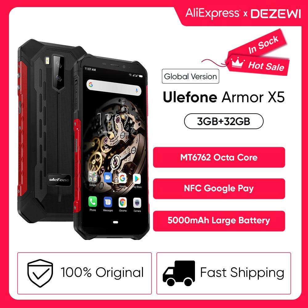 Перейти на Алиэкспресс и купить Ulefone Power X5 Android 10 прочный Водонепроницаемый смартфон IP68/IP69K MT6762, мобильный телефон, 3 Гб оперативной памяти, 32 Гб встроенной памяти, Octa core NFC 4 ап...