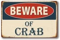 retro metal tin sign beware of crab for shophomefarmcafegaragewall decorbest gift decor design 8x12 inch