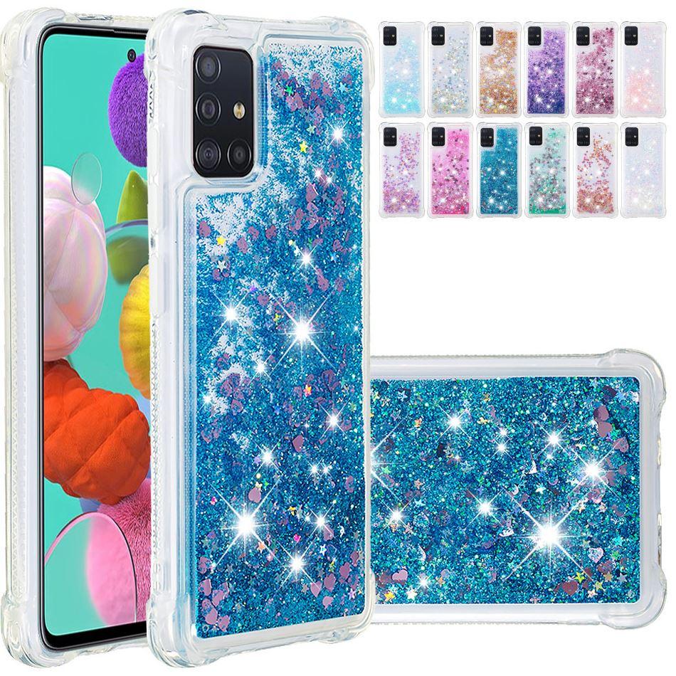 Funda de arena movediza brillante para Samsung Galaxy A01 A21 A51 A71 A81 A91 Note10Lite S10Lite cubierta de Color sólido anticaída D03E