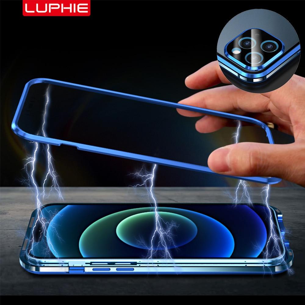 Luphie غطاء مغناطيسي مطلي بالمعادن لهاتف iphone 12 Pro Max حافظة صغيرة مضادة للصدمات حافظة فوندا فاخرة حماية كاملة