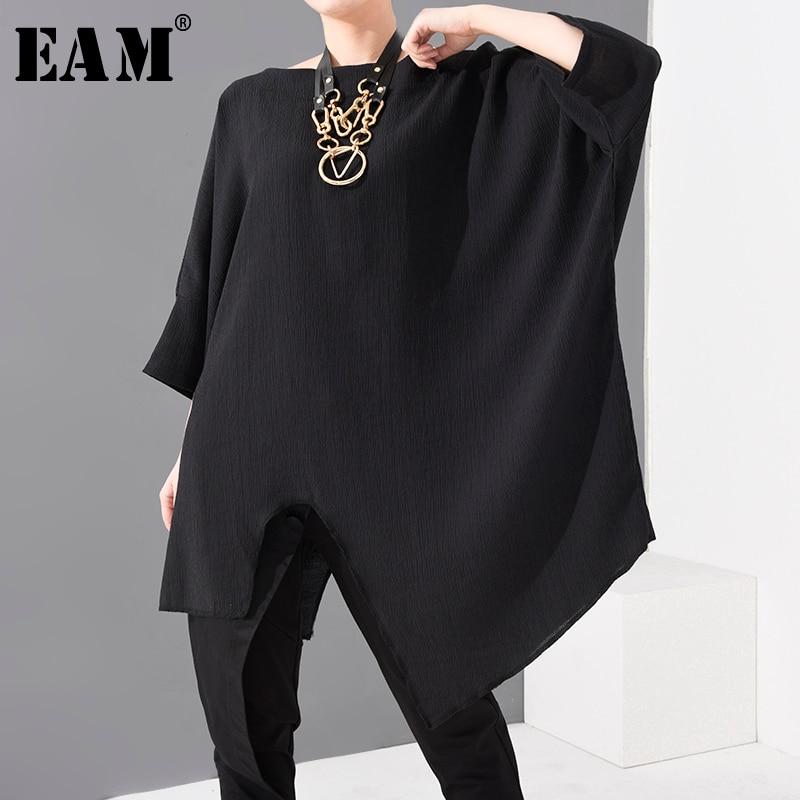 [EAM] Women Black Vent Irregular Split Big Size T-shirt New Round Neck Three-quarter Sleeve  Fashion Spring Summer 2020 1U33601