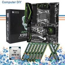 Nueva llegada HUANANZHI X99-F8 placa base con doble M.2 ranuras M.2 WIFI ranura para CPU Intel Xeon 2678 V3 RAM 128G(8*16G) DDR4 REG ECC