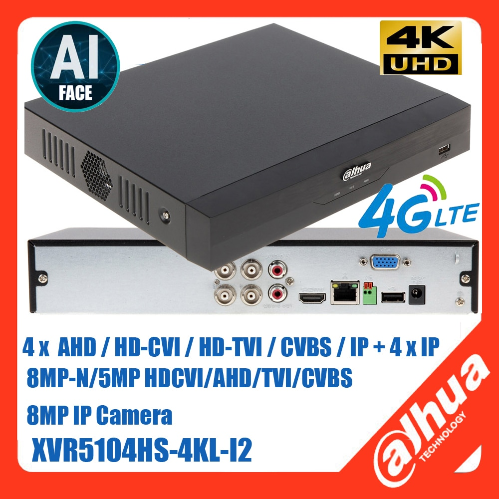 داهوا 4G XVR5104HS-4KL-I2 4K AI الوجه مسجل فيديو رقمي دعم 4CH 6mp HDCVI/AHD/TVI/CVBS كاميرا و 6ch 4k كاميرا ip