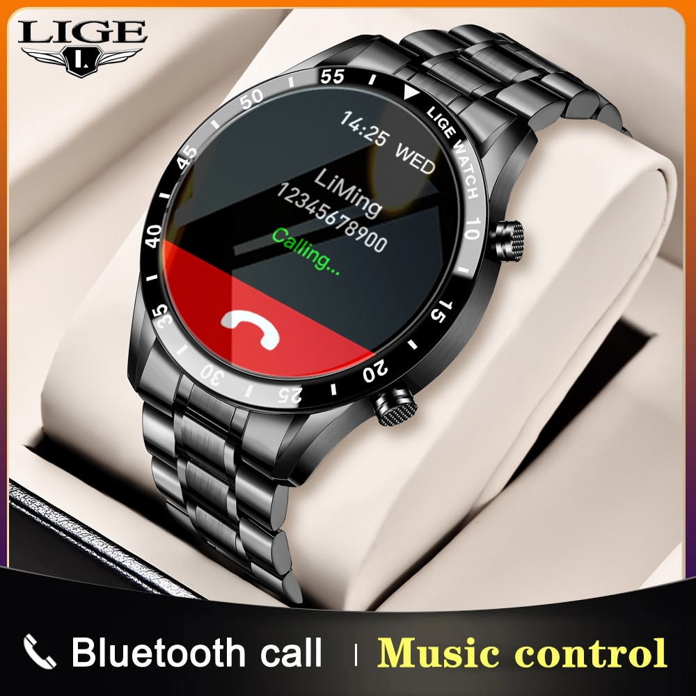 LIGE 2020 New Steel Band Smart Watch Men Women Full Touch Screen Sport Heart Rate Fitness Waterproof Smart Bluetooth Call Watch
