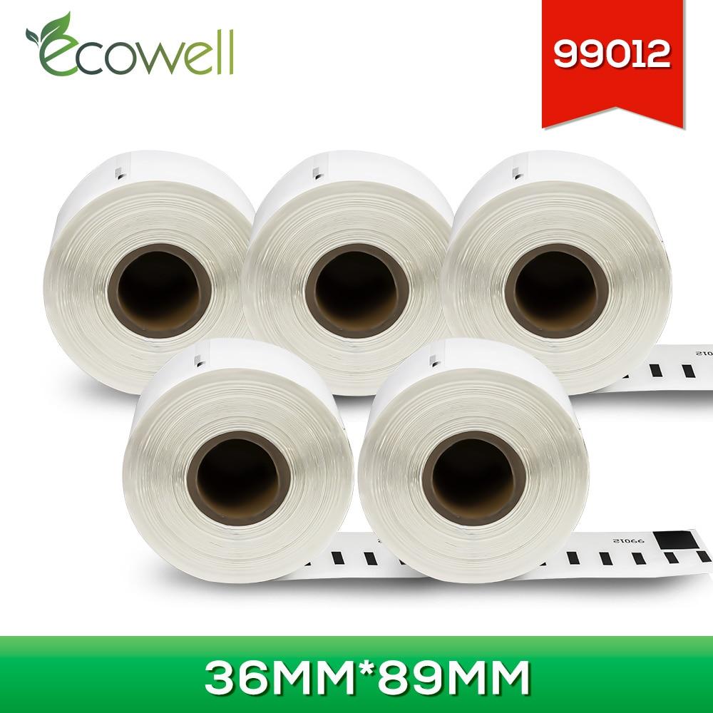 Ecowell 99012 papel térmico 5 rollos (1300 uds) etiqueta de envío compatible para Dymo LabelWriter 450/450 Turbo/450 DUO/450 Turbo Doble