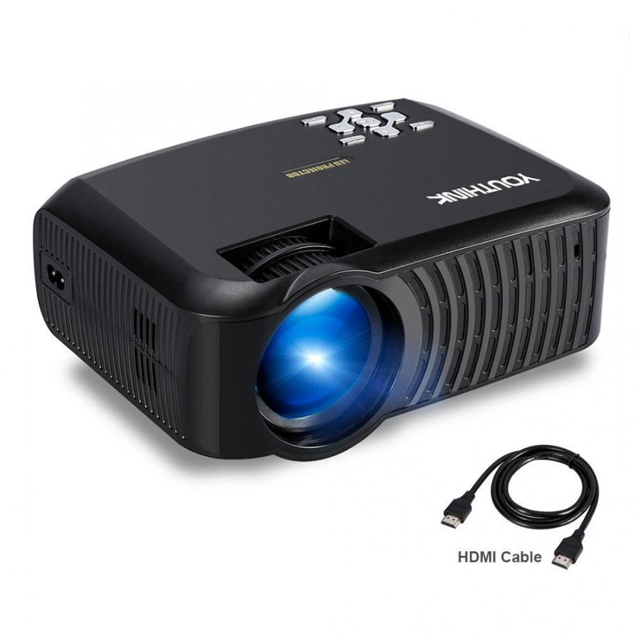 Mini proyector LCD portátil HDMI USB VGA AV SD interfaz Multimedia proyector pantalla + soporte de pared 1080P cine en casa
