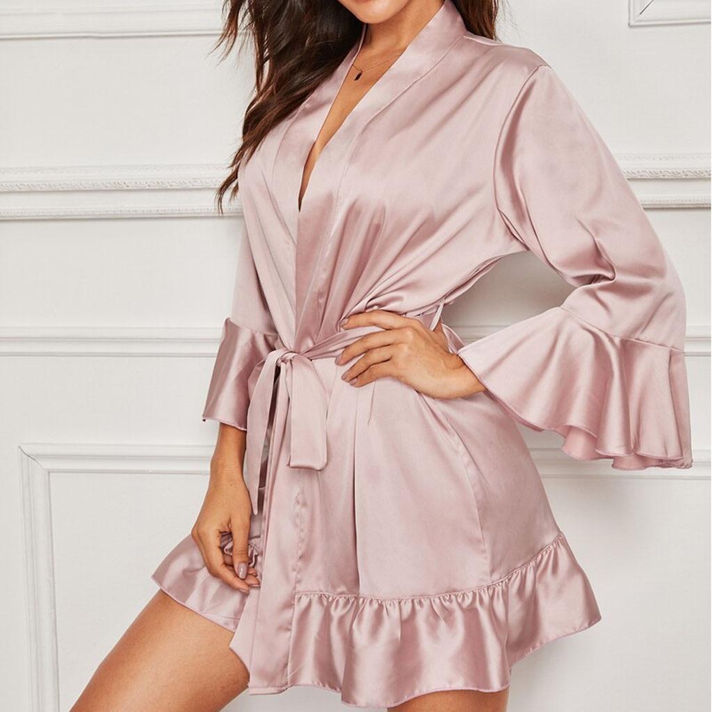 Bata de satén de seda de encaje para mujer, albornoz de encaje para mujer, Batas para dormir, bata Sexy para mujer, envío directo # Y1
