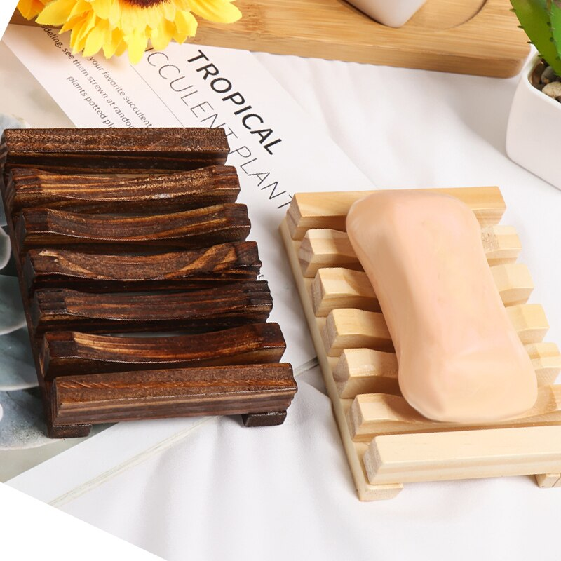 1 ud. Jabonera de madera Natural de bambú bandeja soporte rejilla para guardar jabón plato caja contenedor jabonera de baño portátil