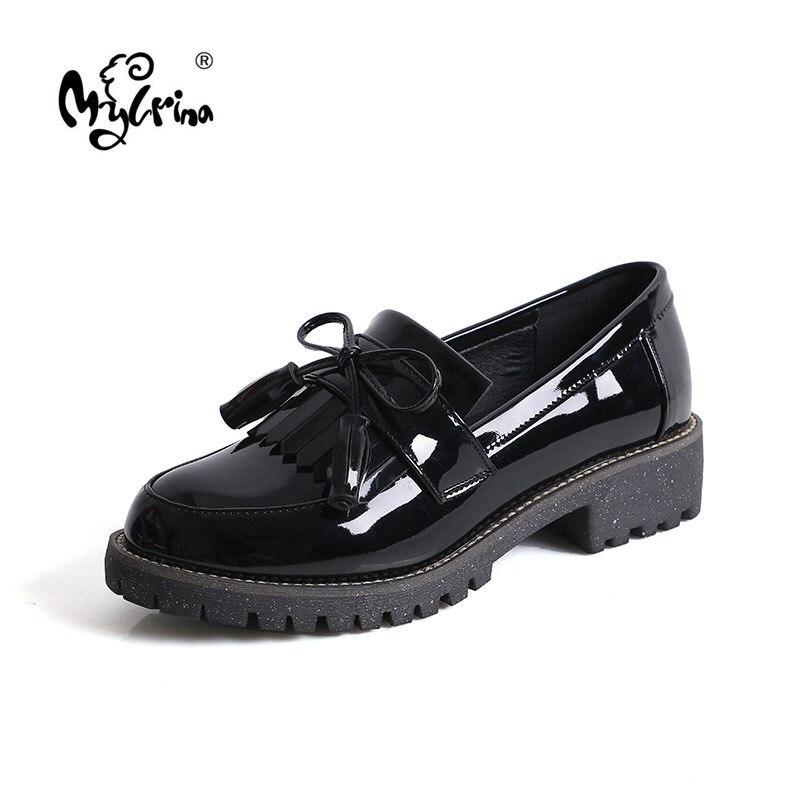 MYLRINA zapatos de mujer oxfords, calzado formal de trabajo, zapatos negros planos deslizantes retro, zapatos de charol, zapatos de mujer, mocasines